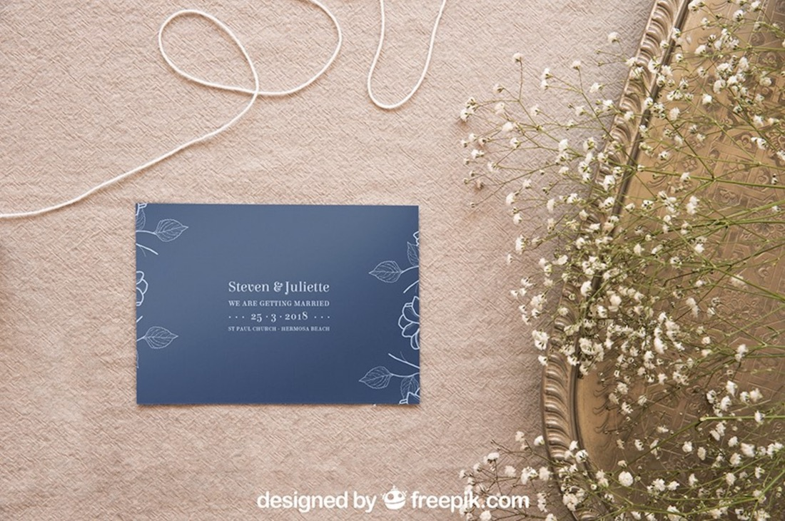 free wedding stationery psd mockup