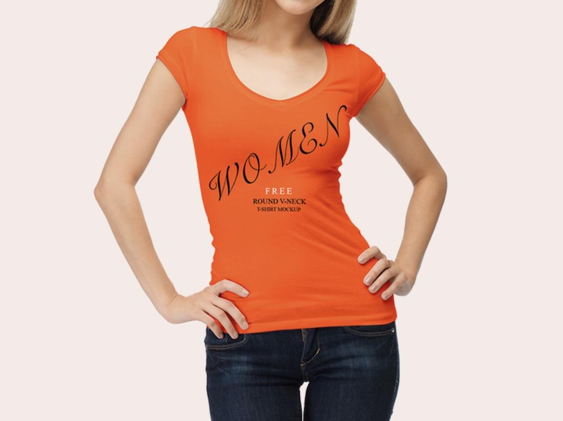 free woman wearing shirt mockup psd