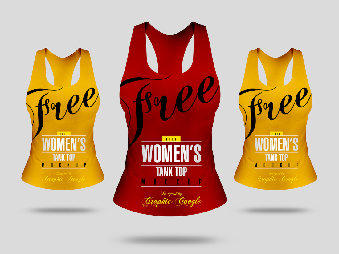 free womens tank top mockup front view