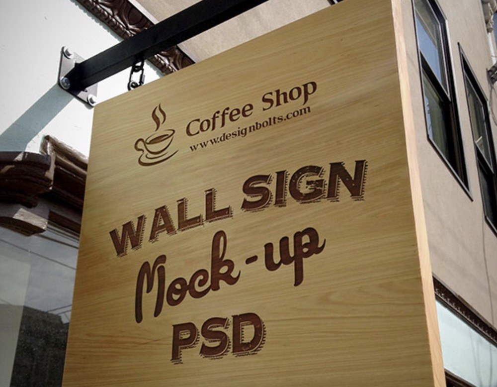 free wooden outdoor hanging sign mockup