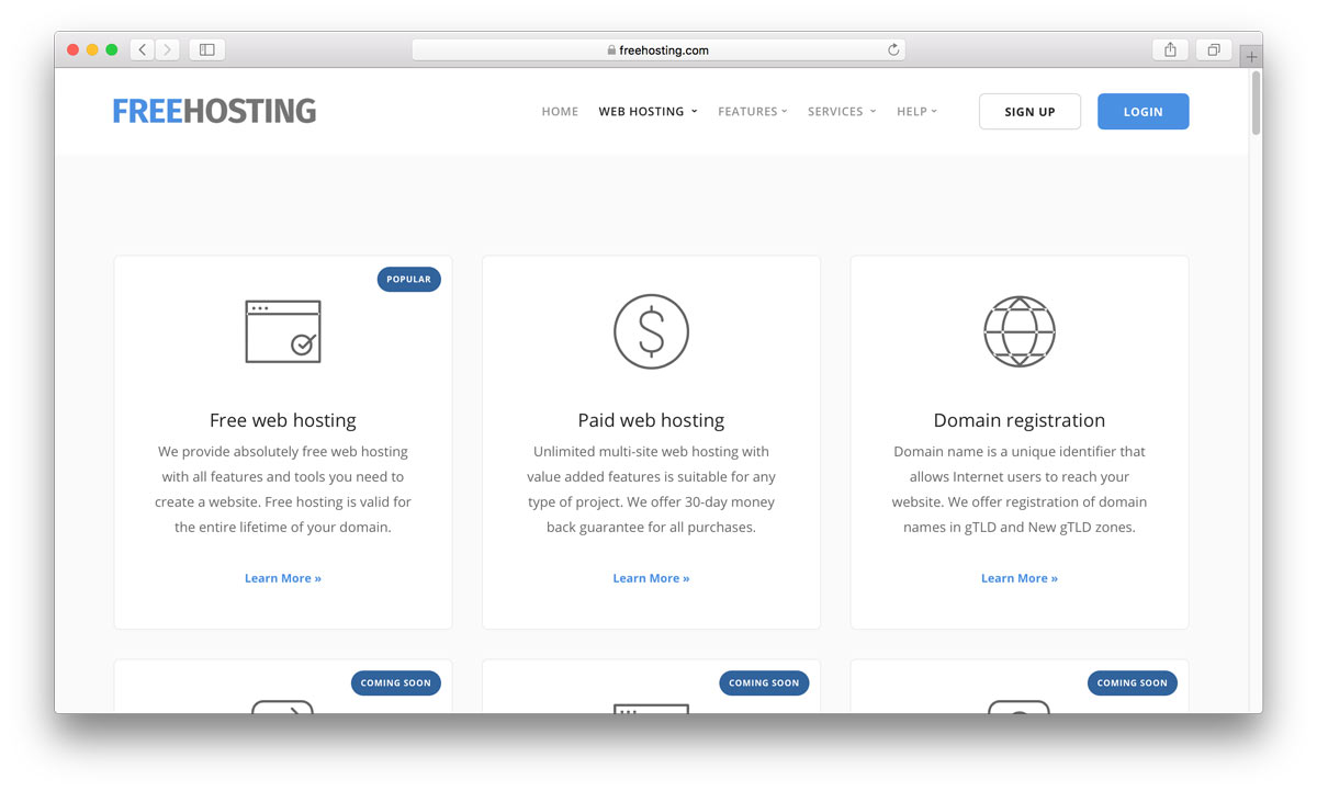 FreeHosting home page