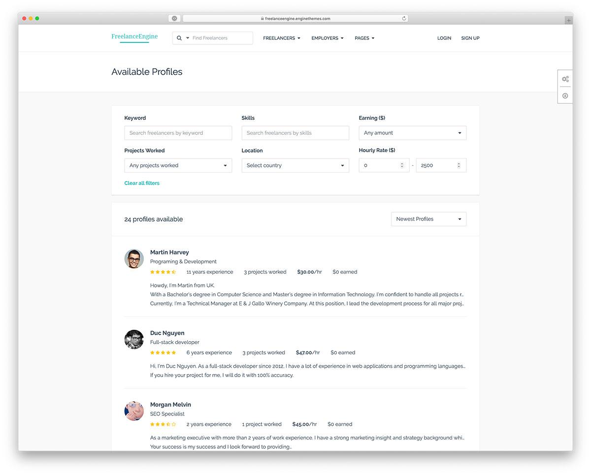 freelancer marketplace WordPress theme