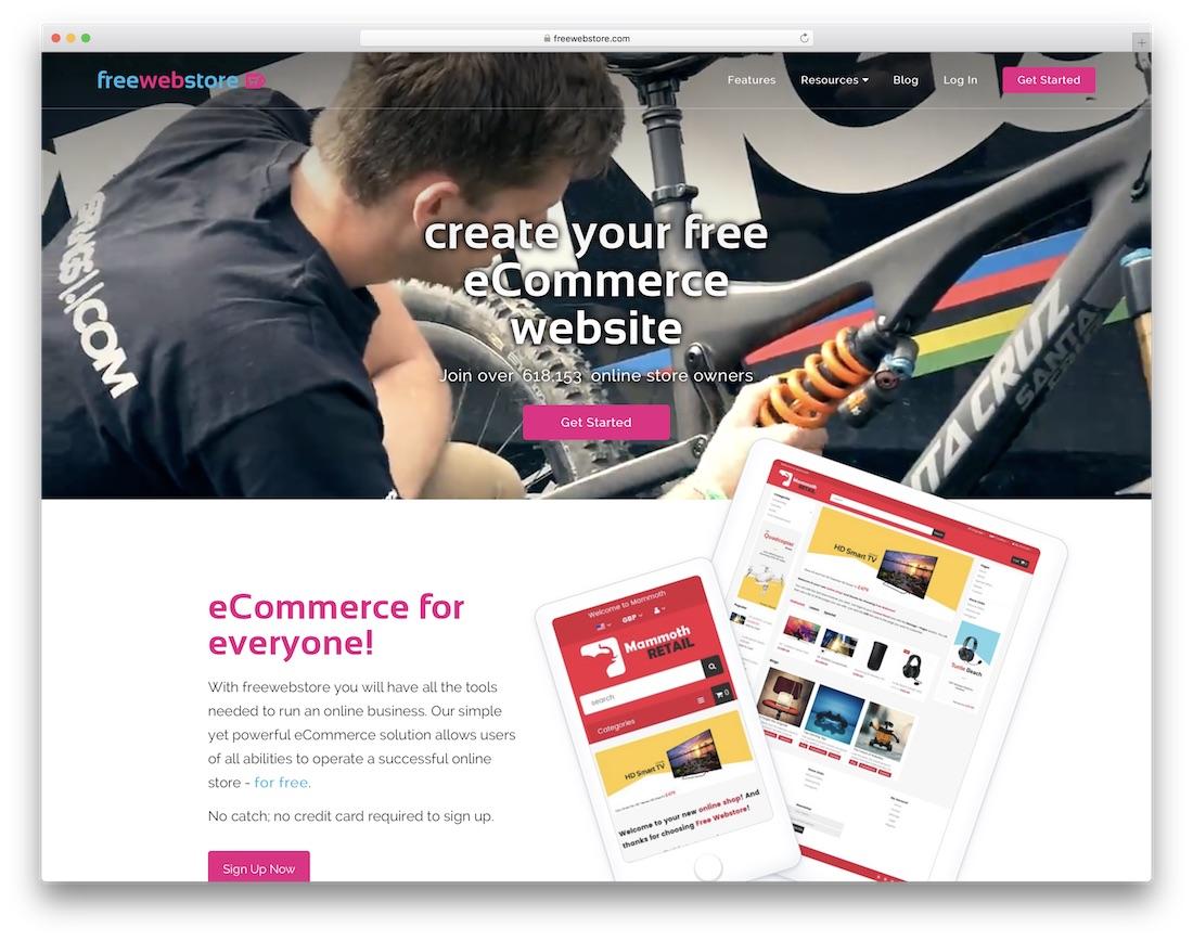 freewebstore online store builder