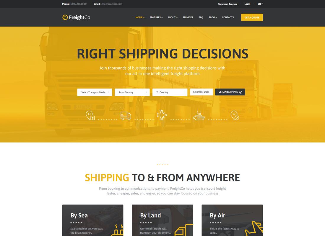FreightCo - Transportation & Warehousing WordPress Theme