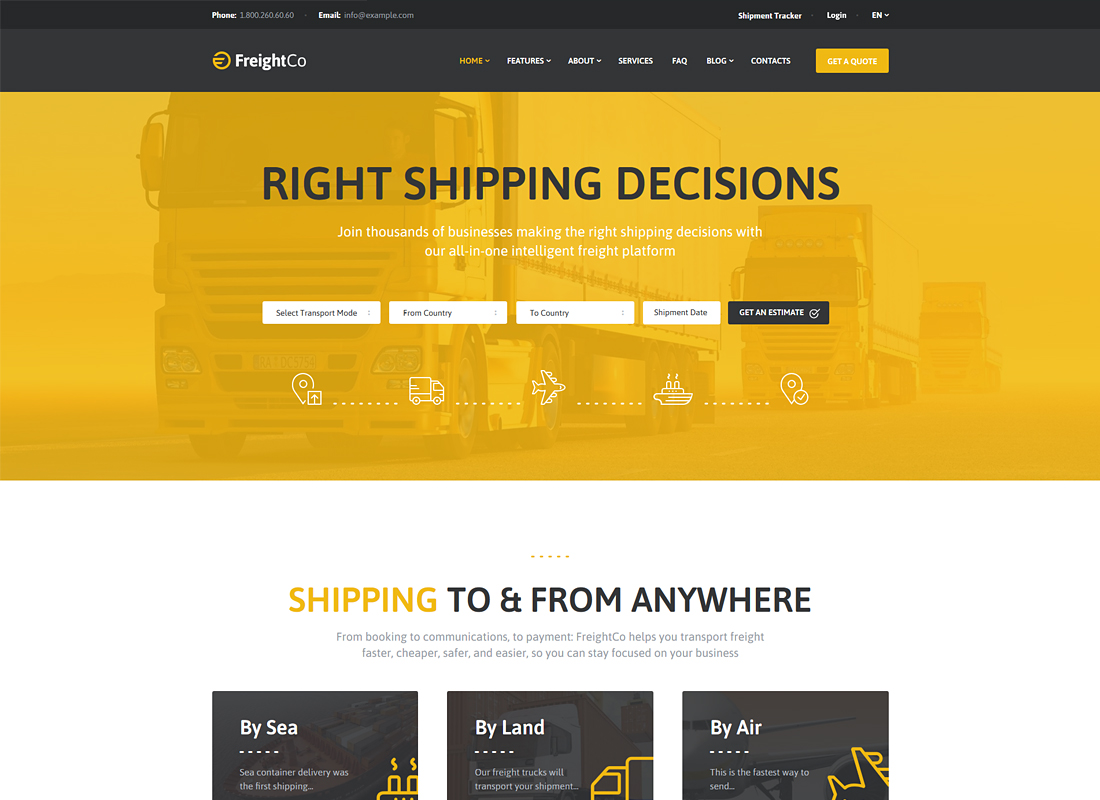 FreightCo | Transportation & Warehousing WordPress Theme