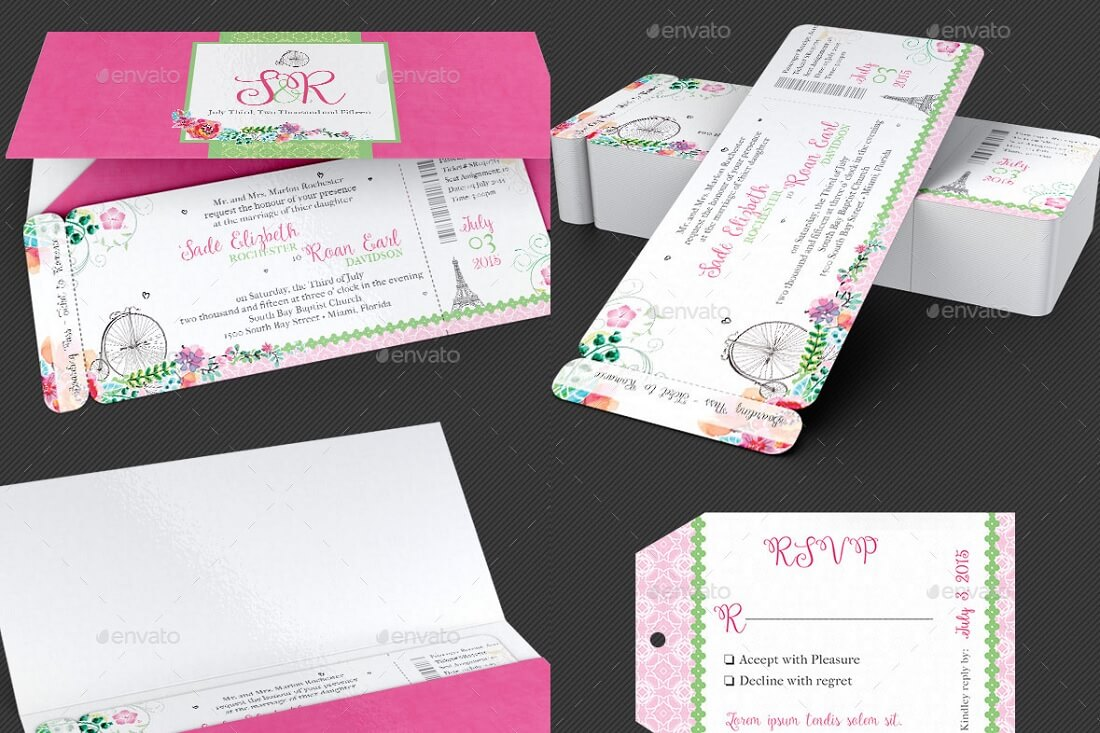 french wedding boarding pass-invitation