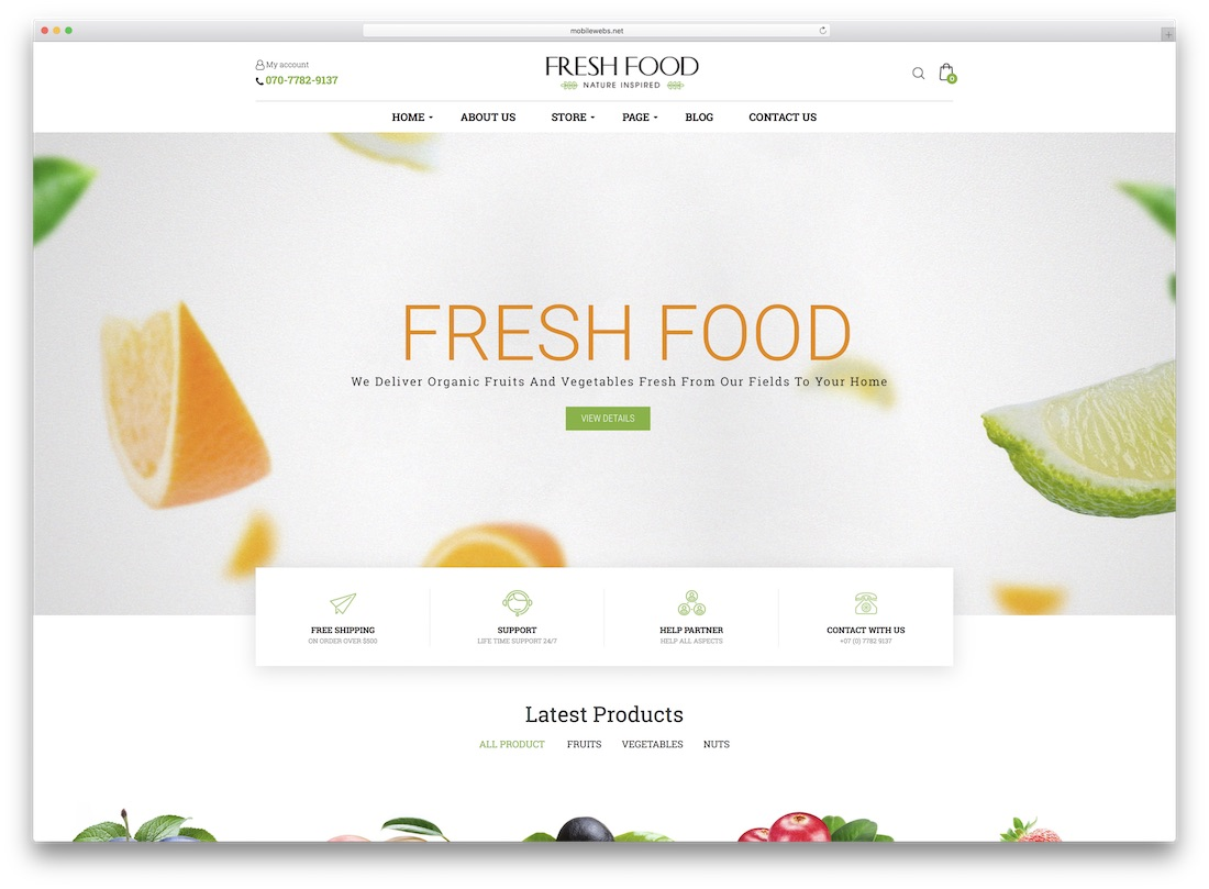 fresh food zen cart template