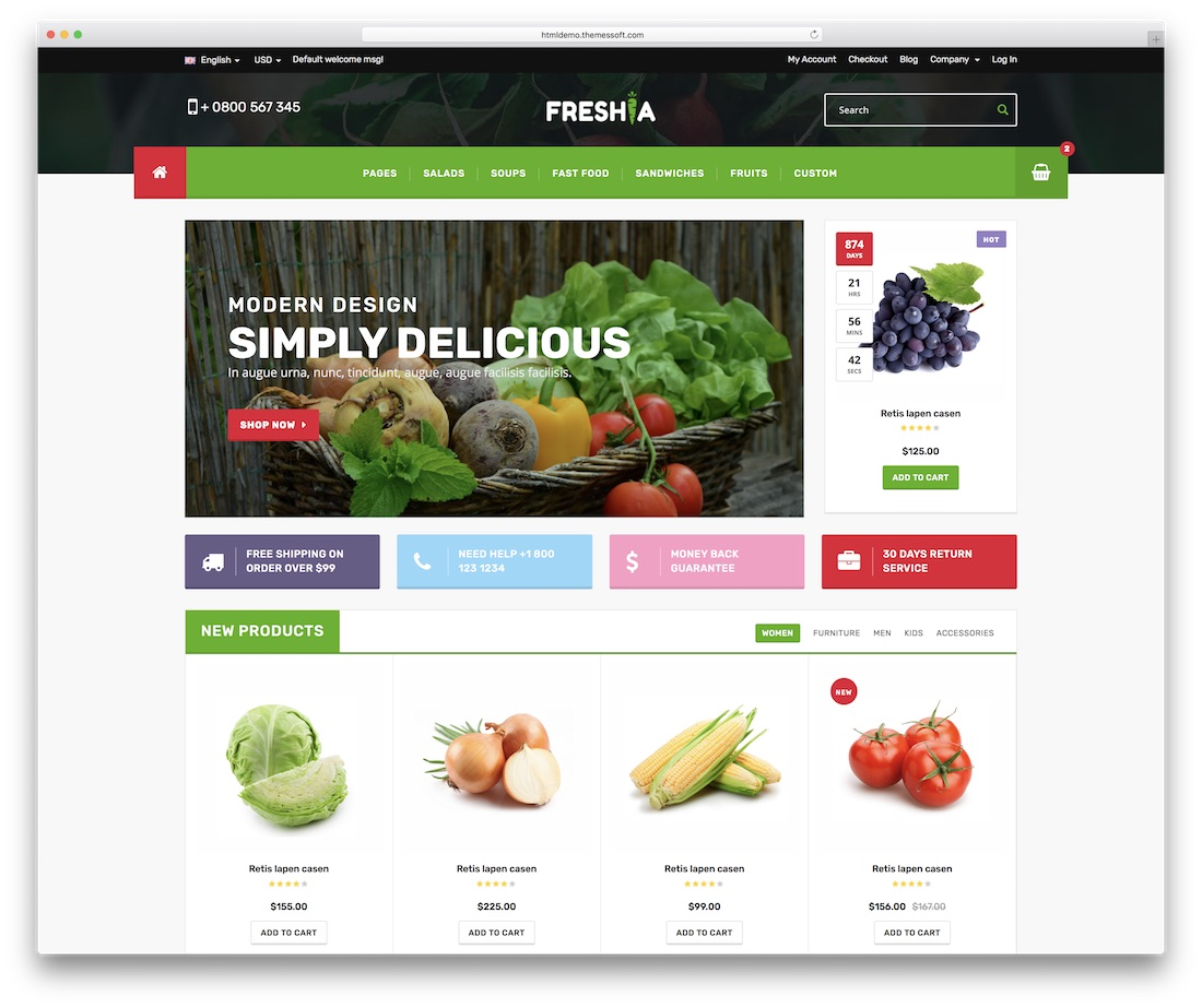 freshia food website template