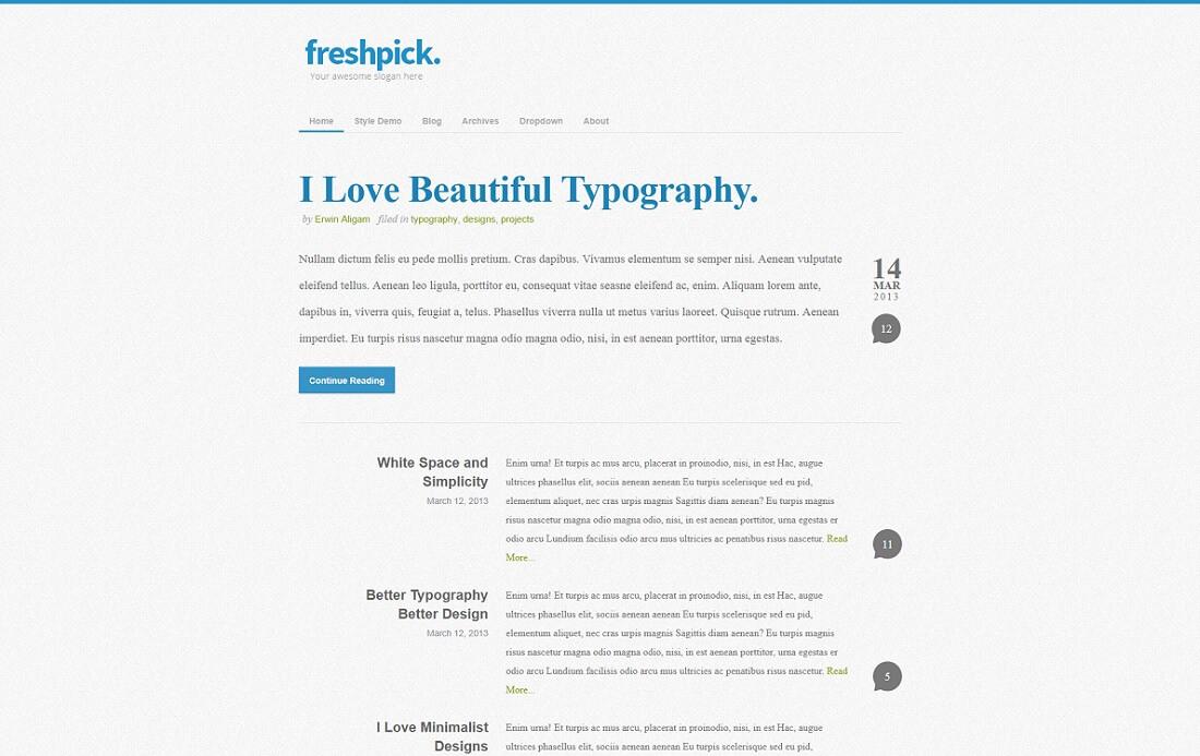 freshpick free blog template