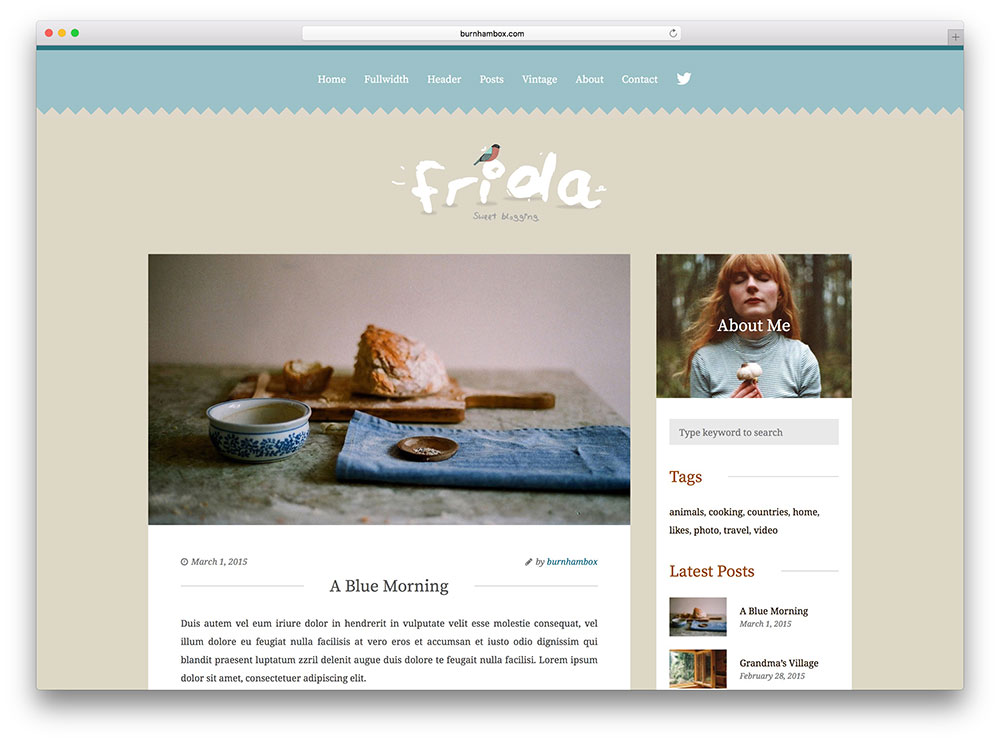 frida - vintage personal blog theme