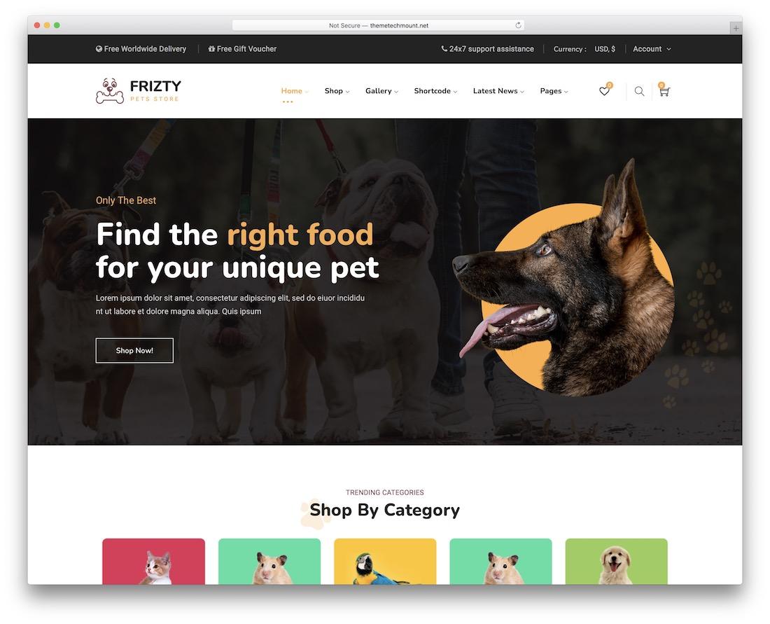 frizty animal wordpress theme