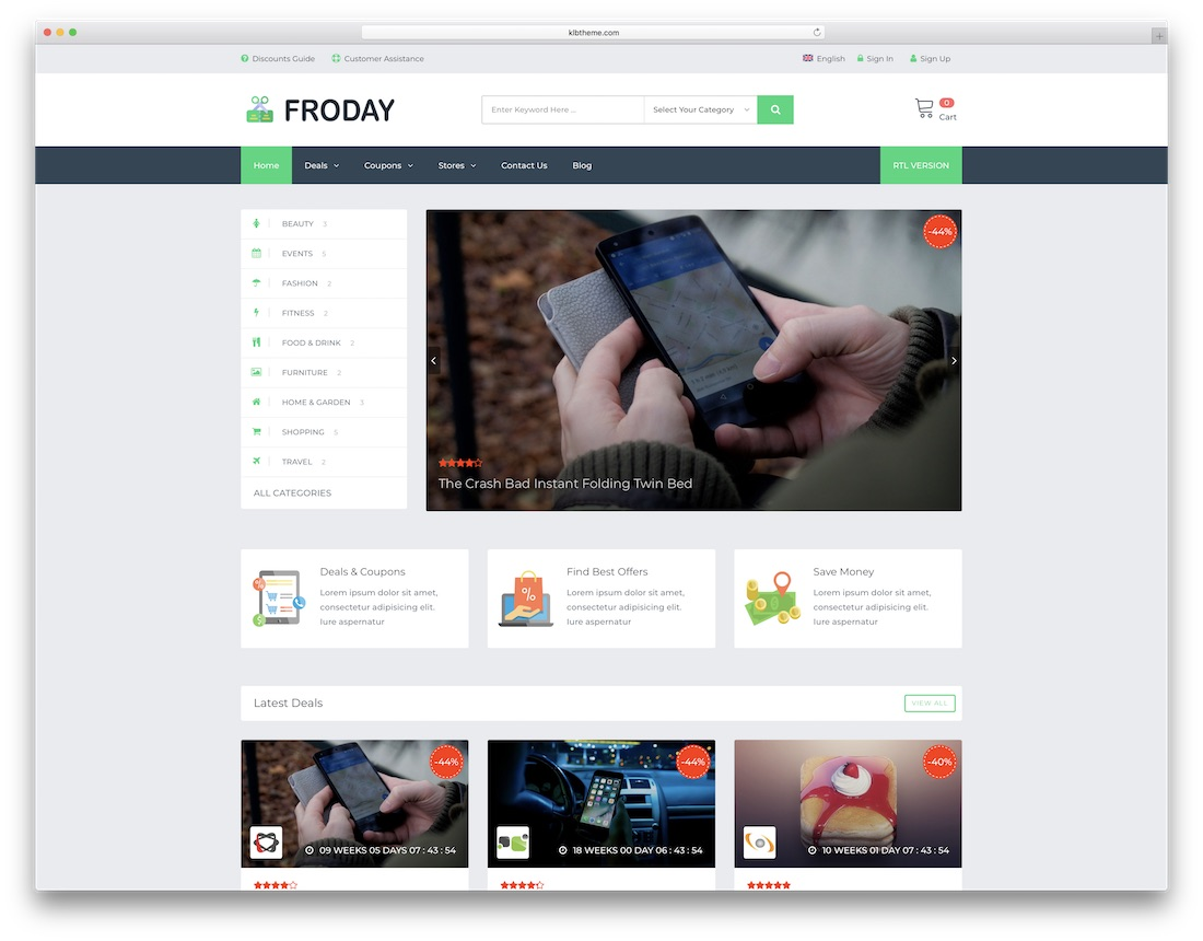 froday wordpress daily deals theme