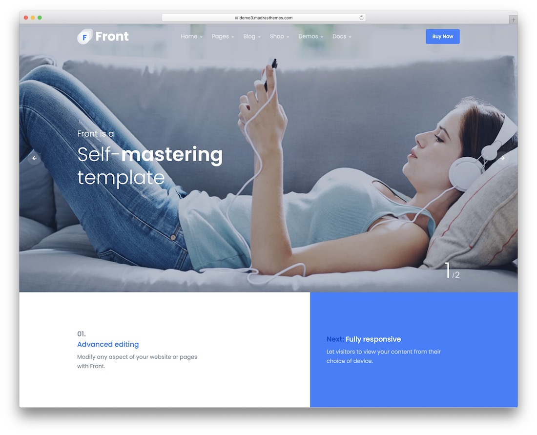 front bootstrap business website template