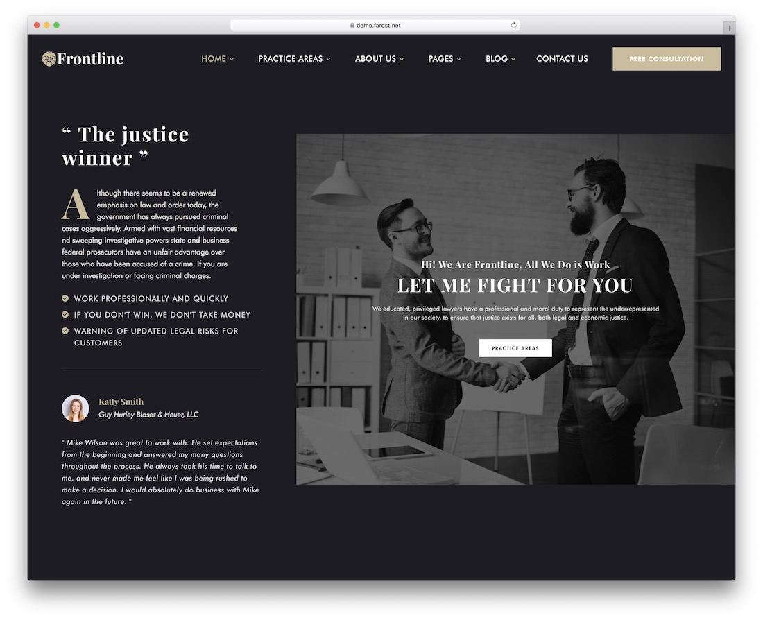 frontline lawyer website template