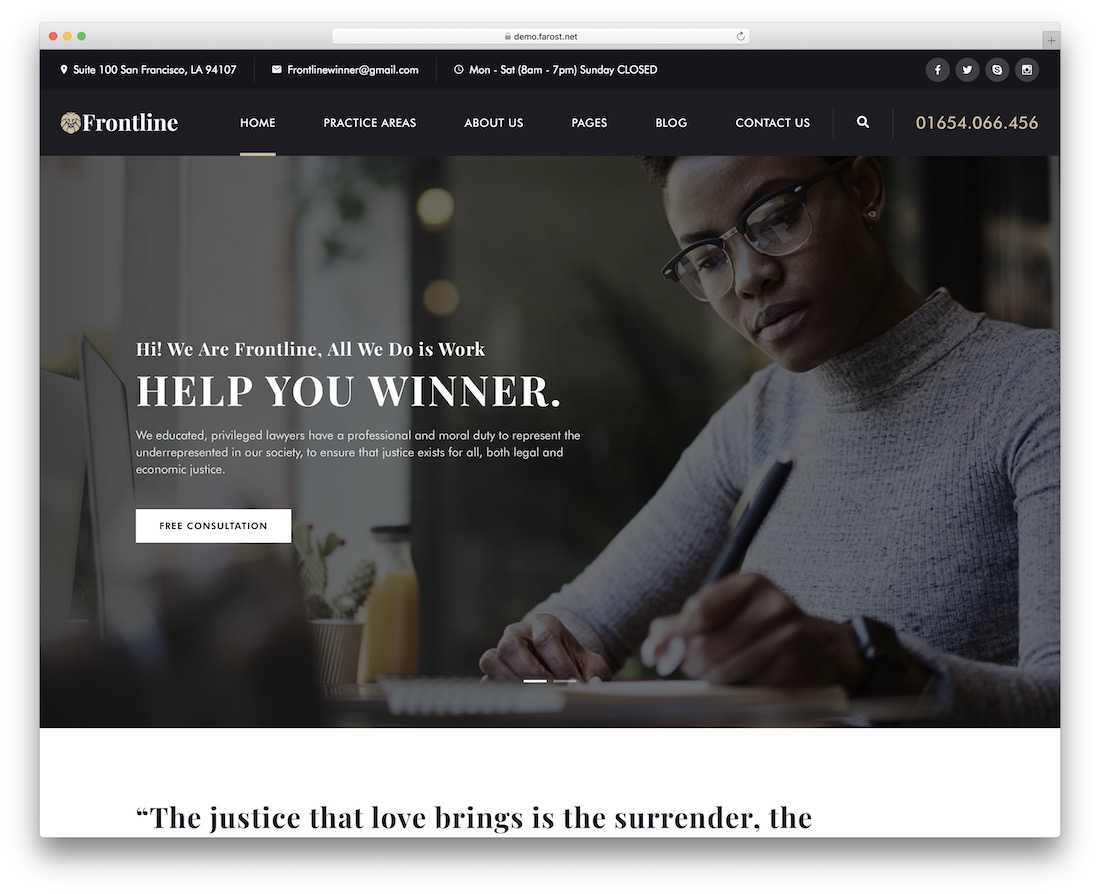 frontline lawyer wordpress theme