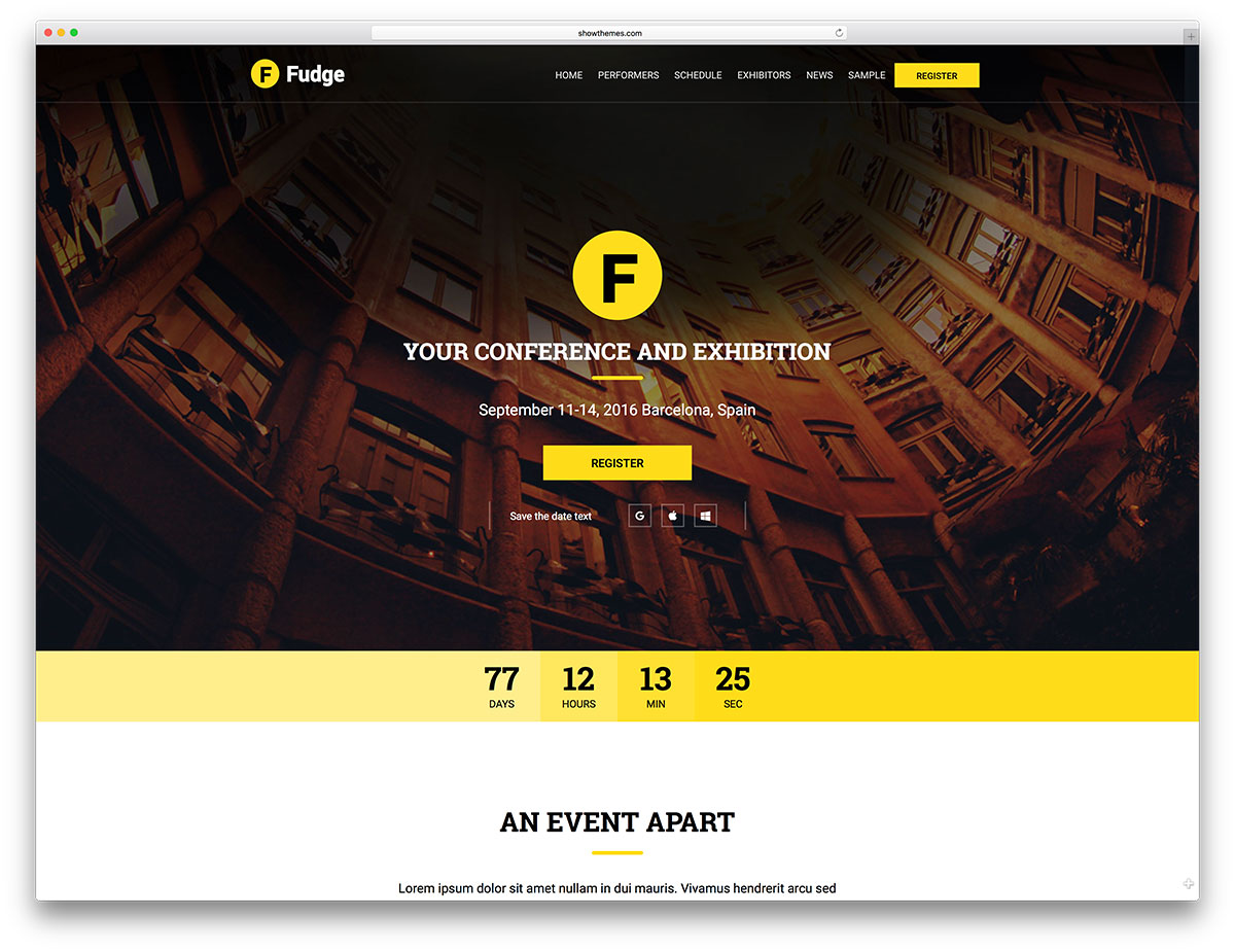 30 awesome wordpress themes for conference and event 2017 colorlib fudge simple event website template for wp pronofoot35fo Image collections