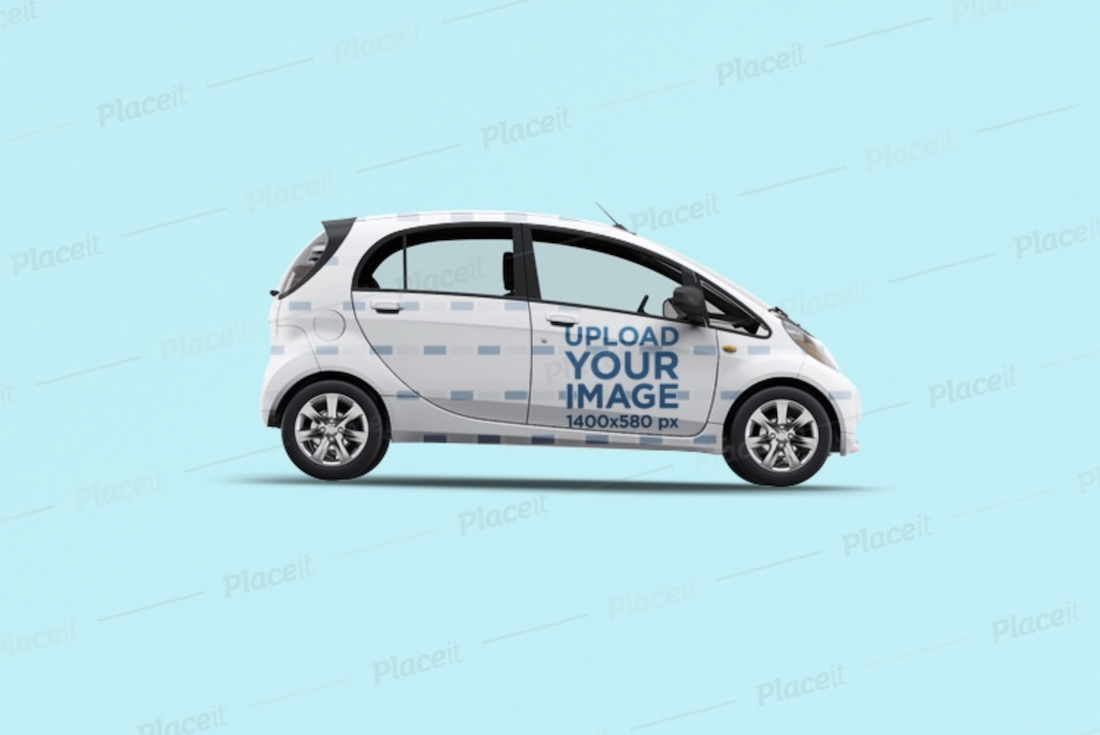 full car wrap mockup featuring a compact car