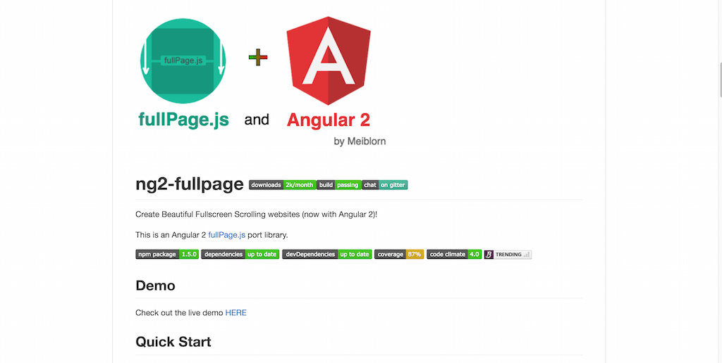 fullPage Integration for Angular 2