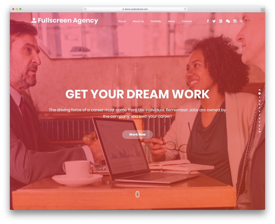 fullscreen agency free wordpress theme