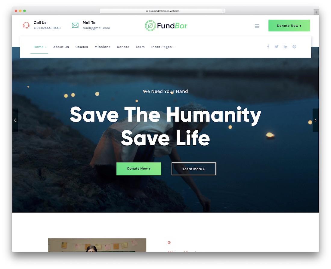 fundbar fundraising wordpress theme