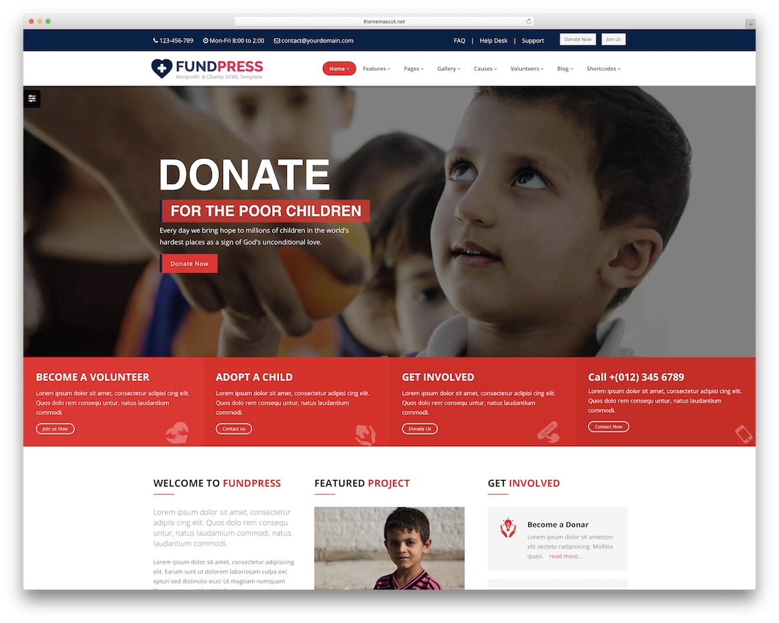 fundpress html charity website template