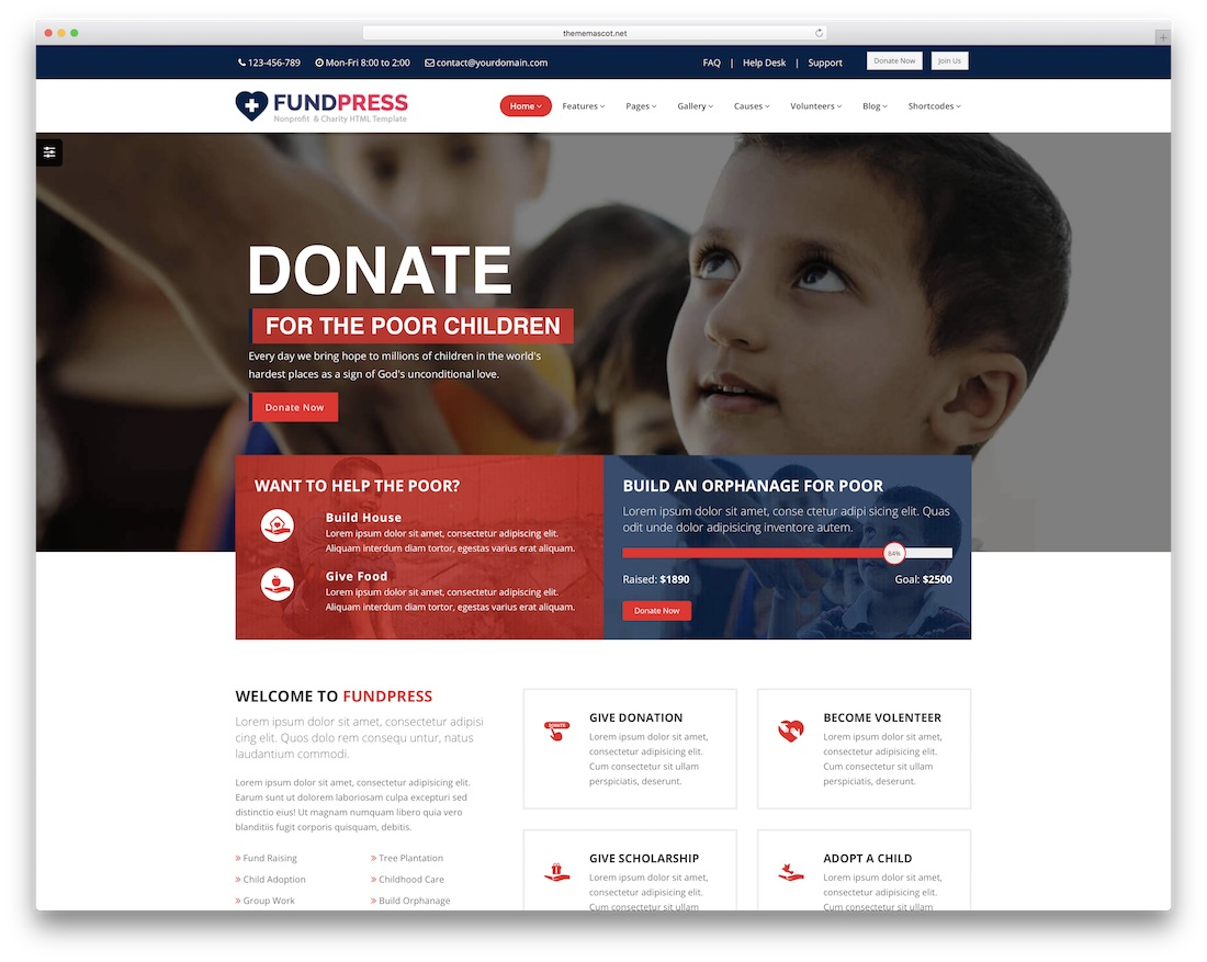 fundpress website template