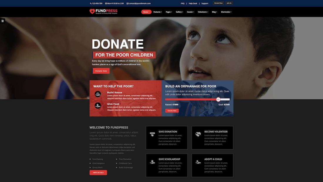 fundpress website template