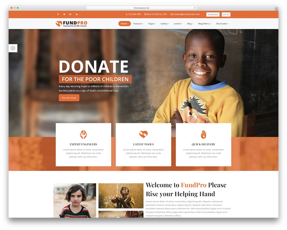 fundpro html charity website template