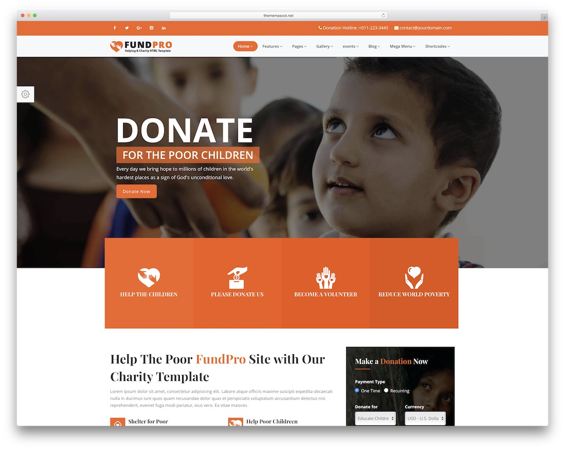 fundpro website template