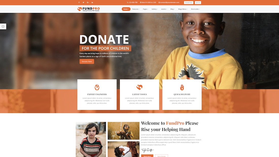 fundpro website template