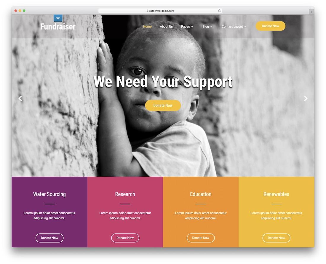 fundraiser lite free wordpress theme