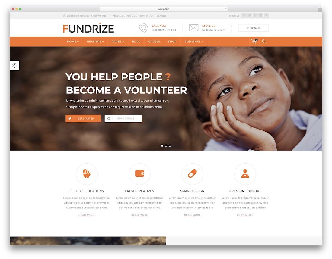 fundrize crowdfunding wordpress theme