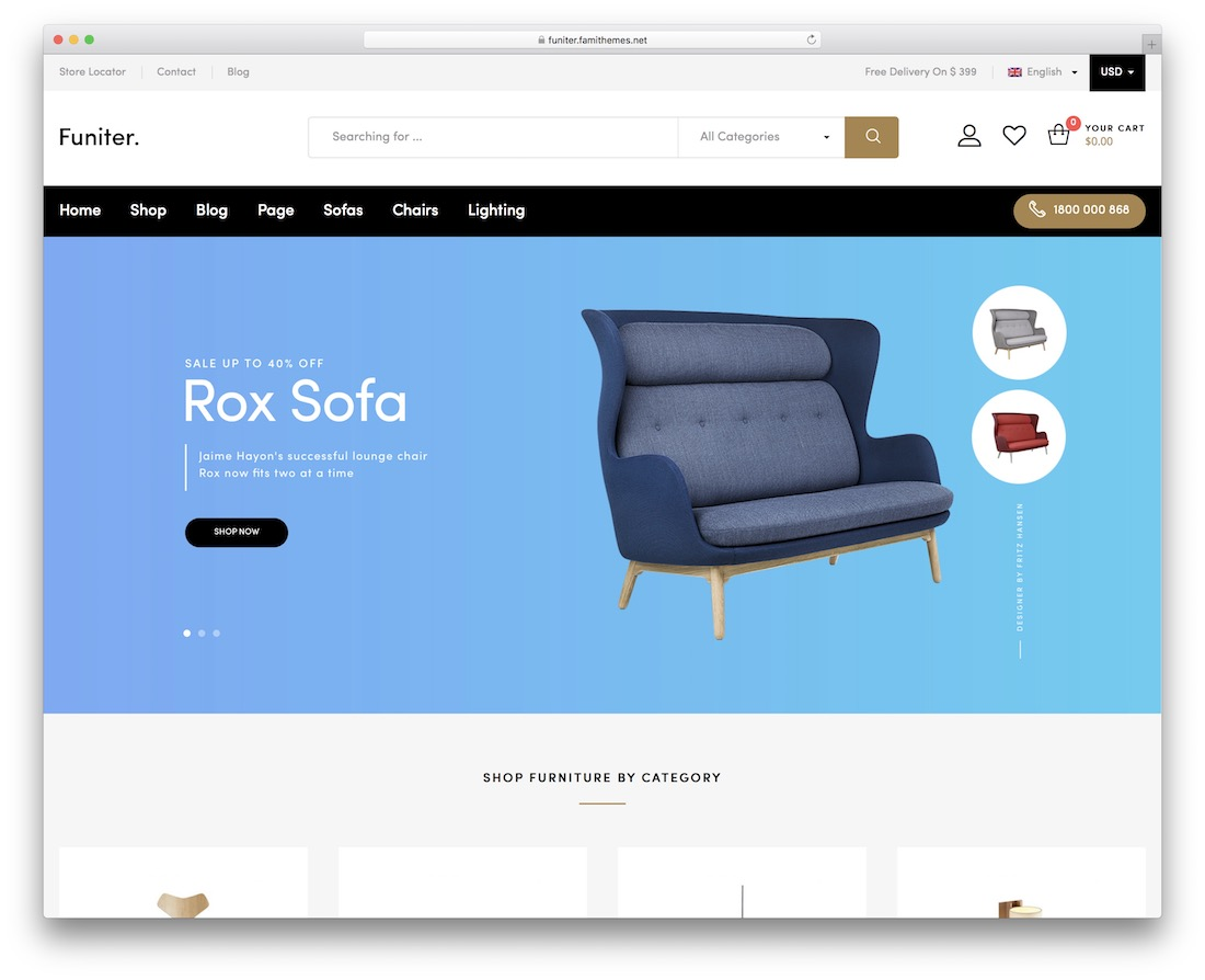 funiter-ajax woocommerce theme