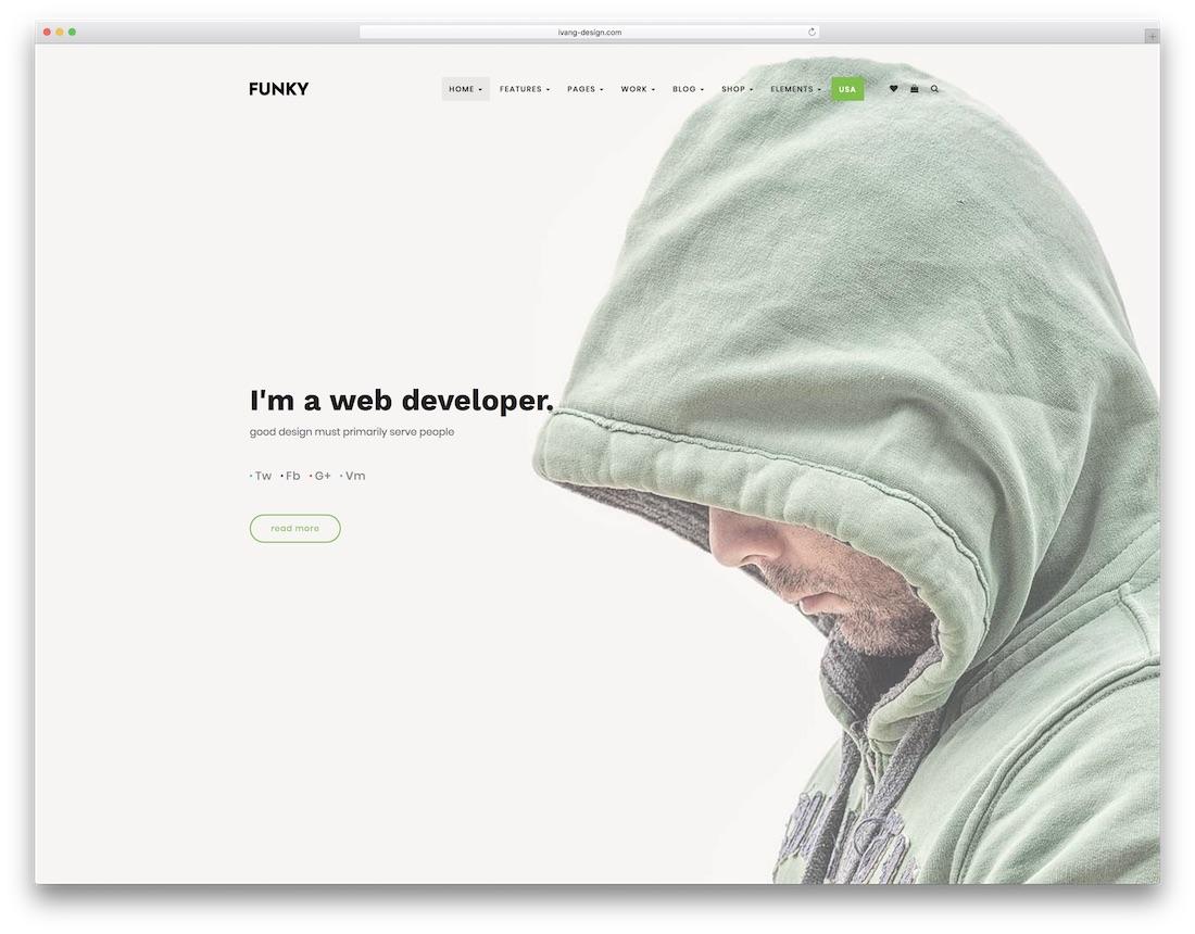 funky freelancer website template
