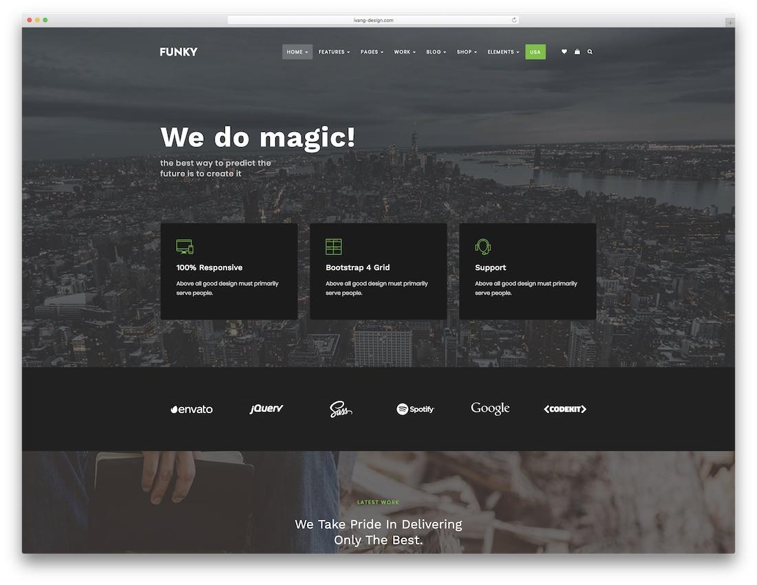funky fullscreen website template