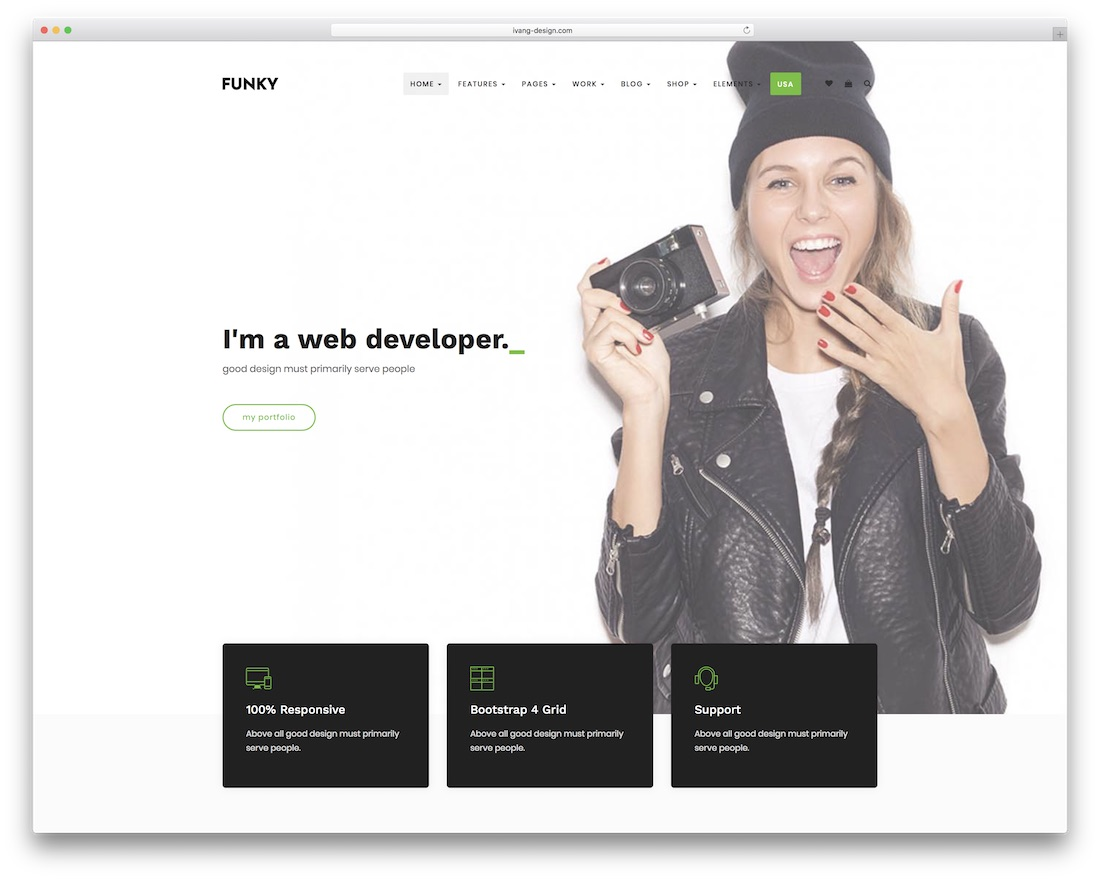 funky grid website template
