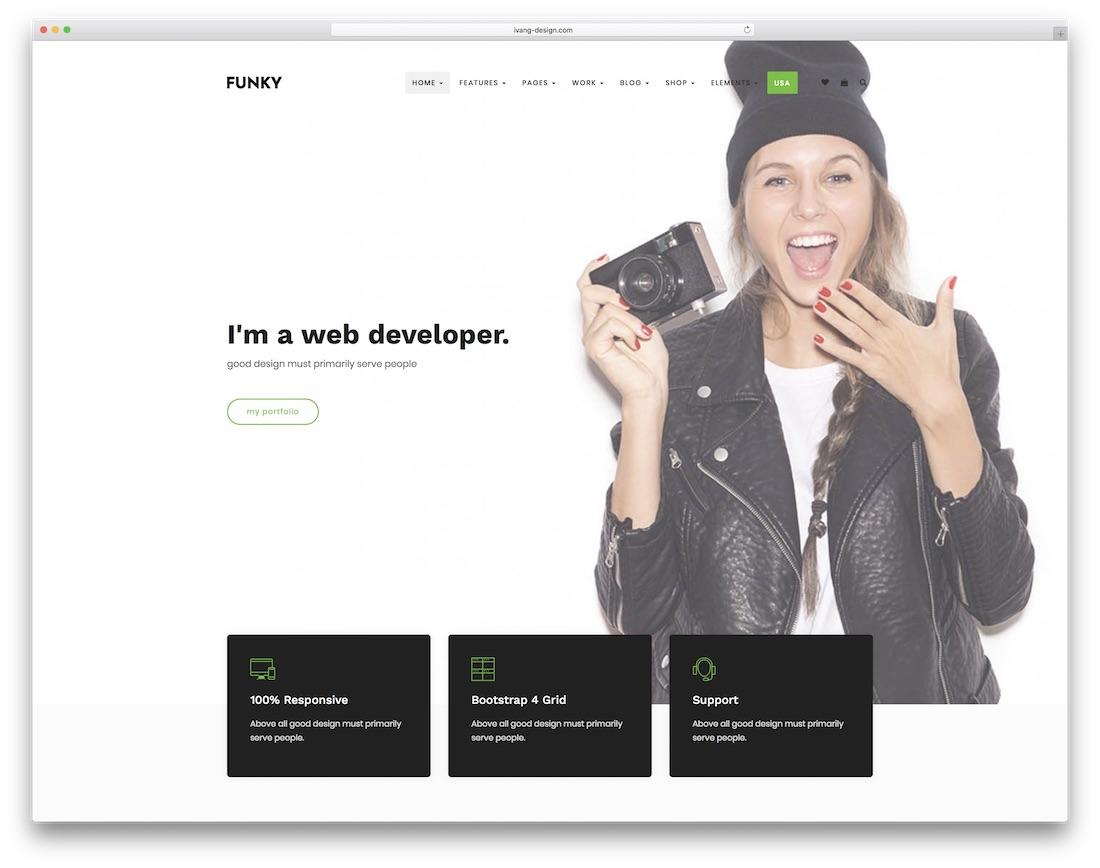 funky portfolio website template