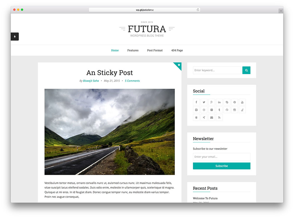 futura - simple corporate blog theme