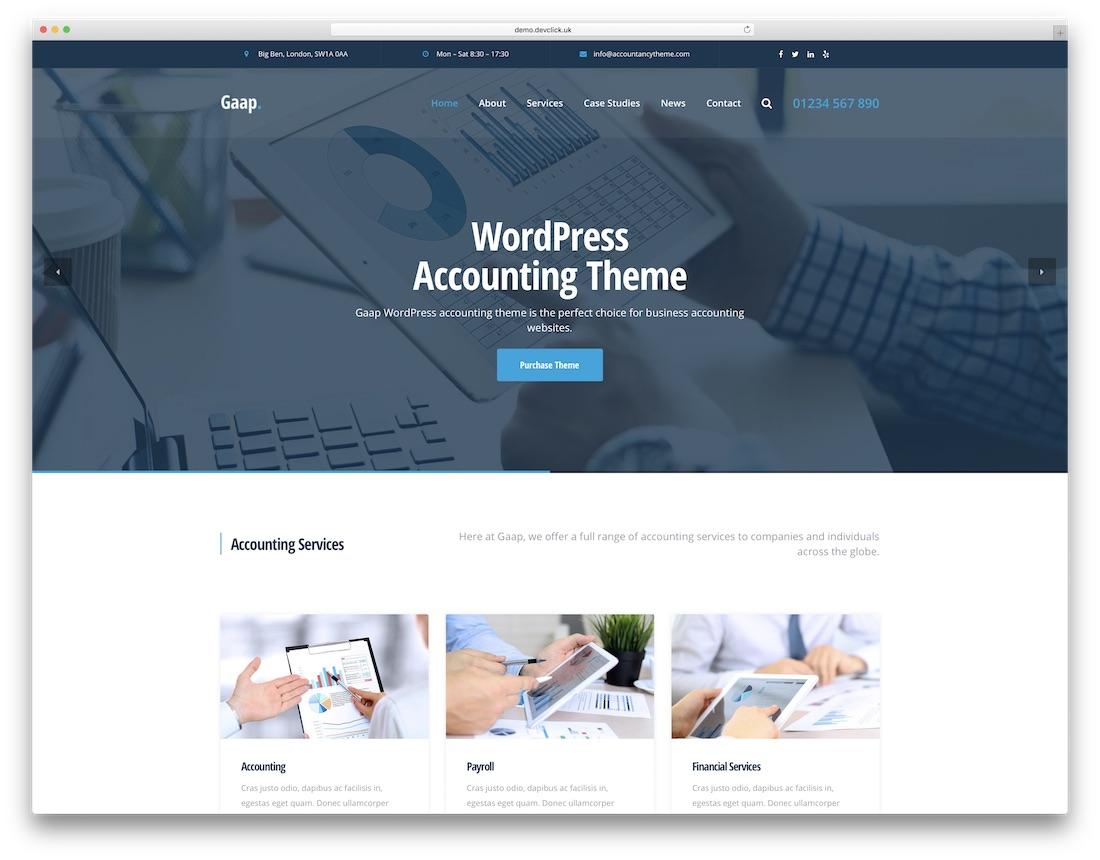 gaap accountant wordpress theme