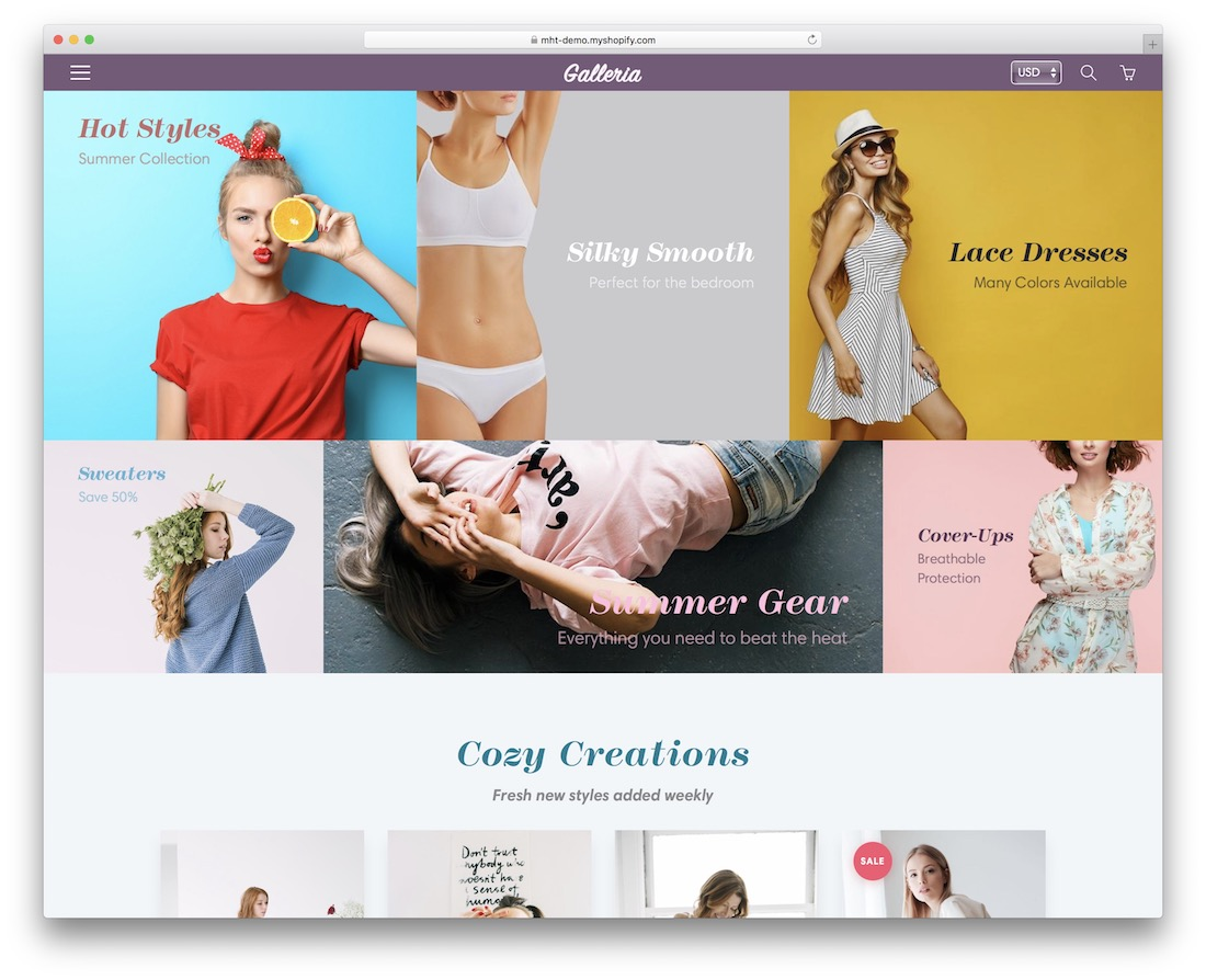 galleria shopify theme for t-shirts
