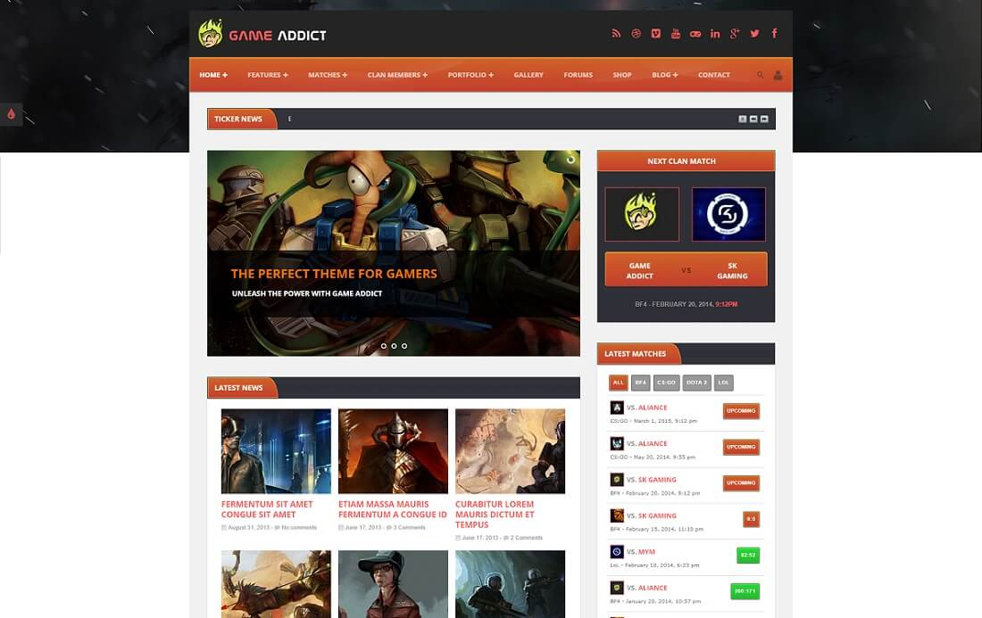 game addict gaming HTML website template