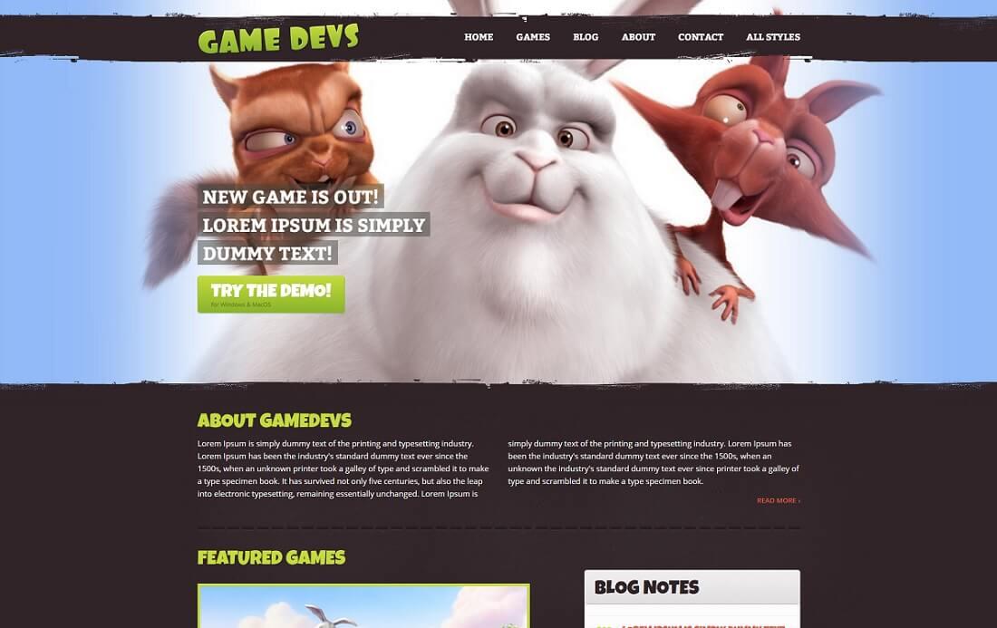 game devs redux gaming HTML website template