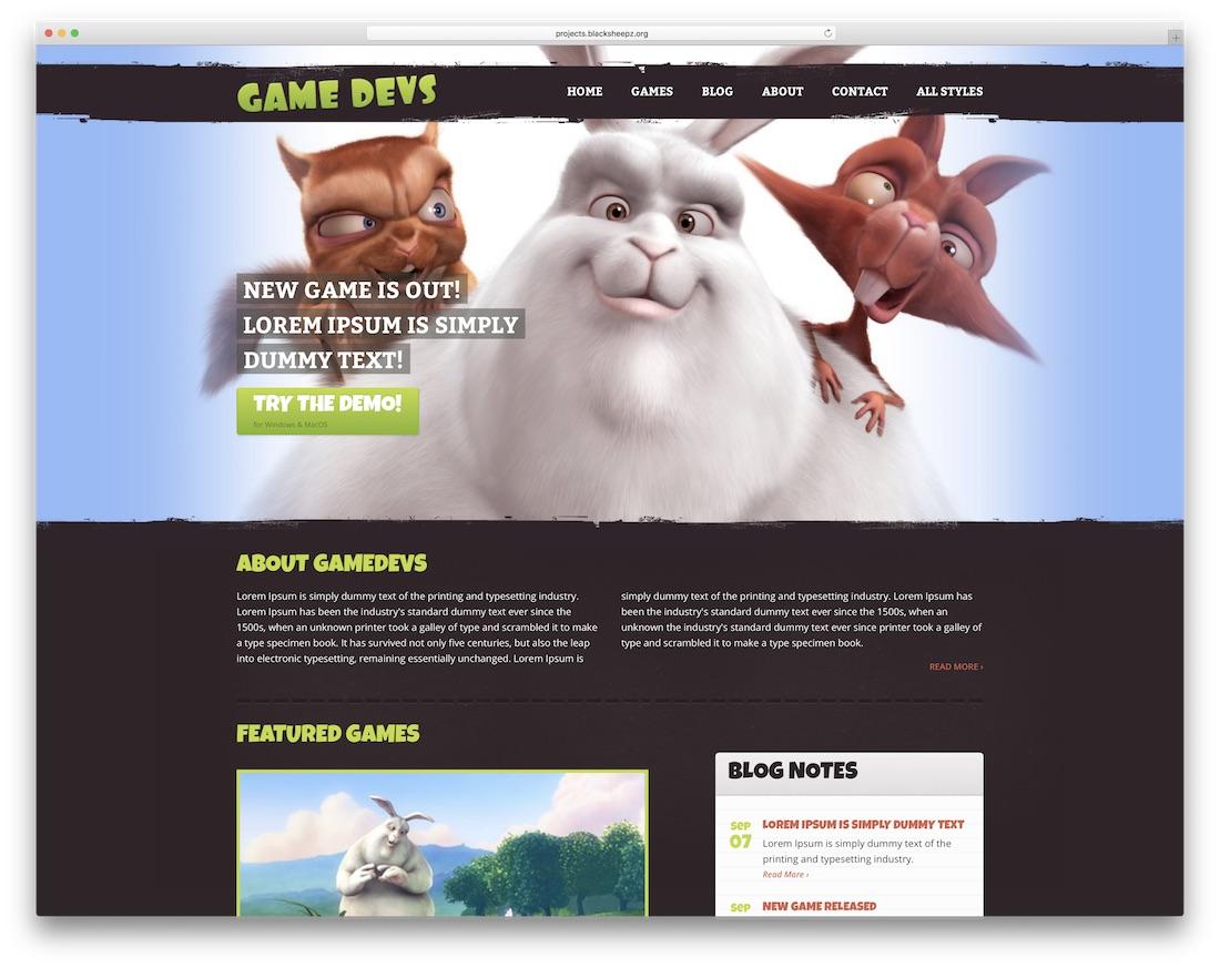 game devs redux gaming website template