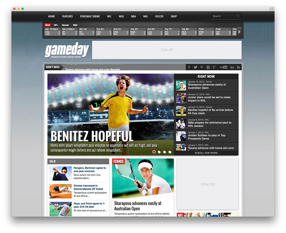 gameday classic sports theme
