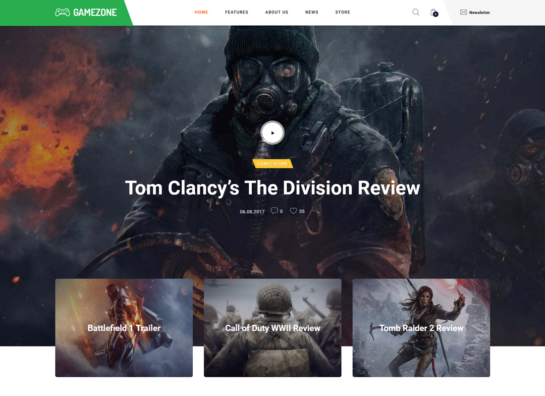 Gamezone   Gaming Blog & Store WordPress Theme