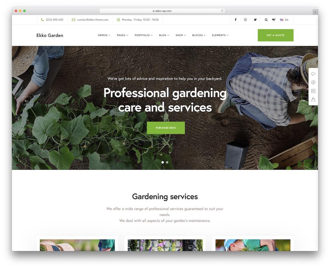 gardener gardening landscaping wordpress theme
