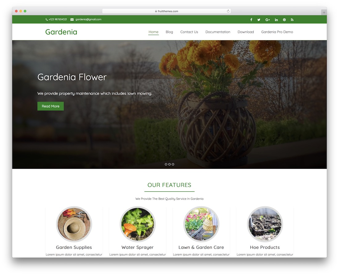 gardenia free nature wordpress theme