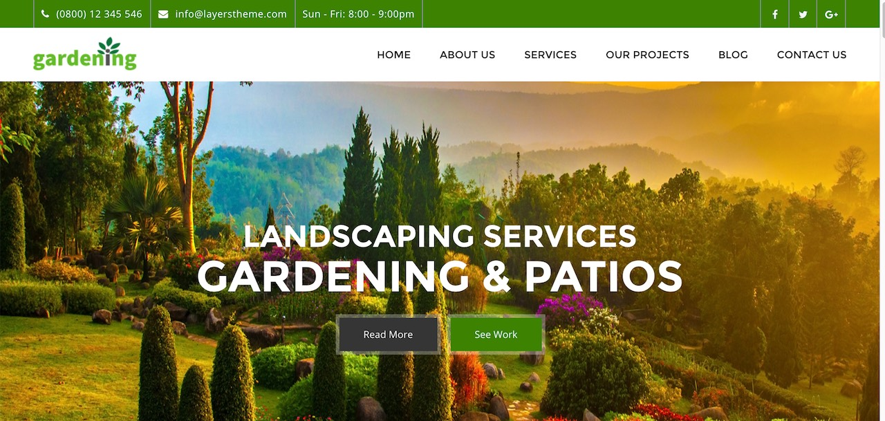 Gardening Wordpress Theme For Landscaping Patio Lawn Care