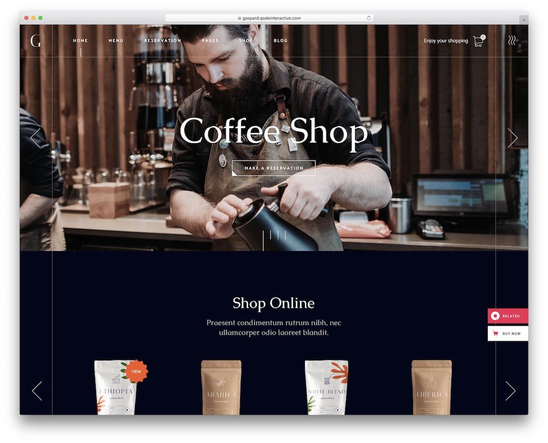 gaspard coffee shop wordpress theme