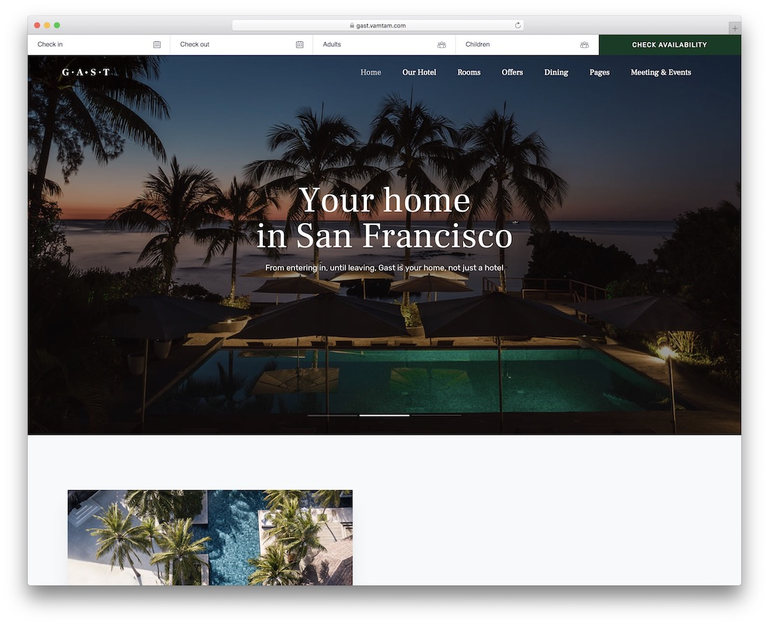gast hotel website template